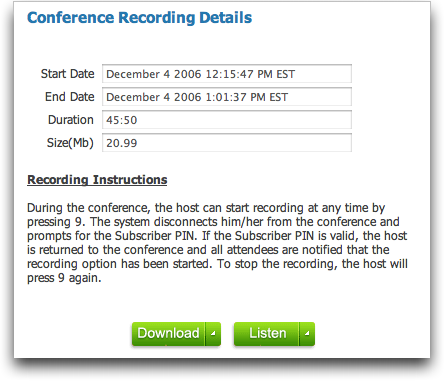 Free Conference Call Service: Recording