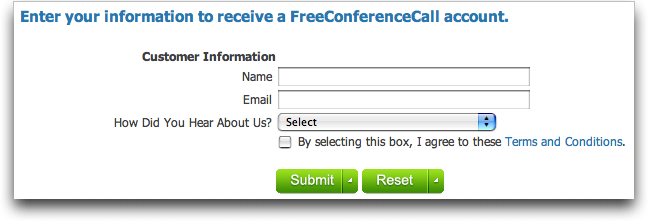 Free Conference Call Service: Registration