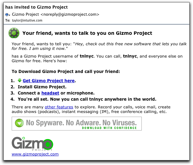Spam from the Gizmo Project?