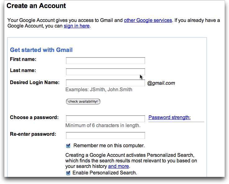 gmail new account opening