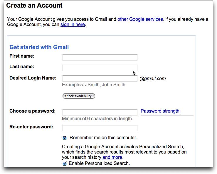 create gmail account screen 1