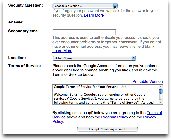 Create Gmail Account, Screen #2