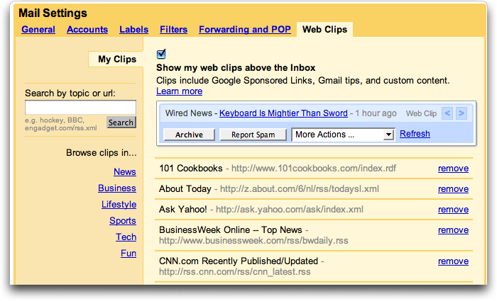 Gmail Customize Clips RSS feeds