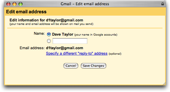 Google Gmail: Edit Email Address