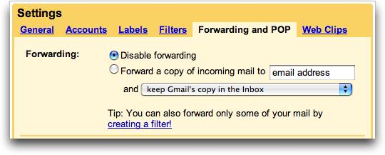 Google Gmail Settings: Forwarding and POP