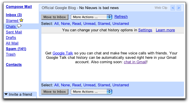 Google Gmail Chats Info Page