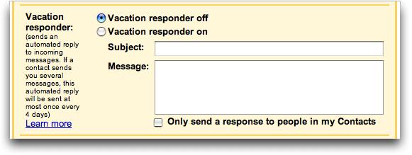 Google Gmail: Vacation Responder