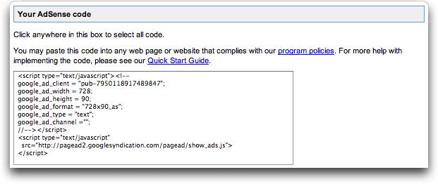 Google AdSense Ad Code