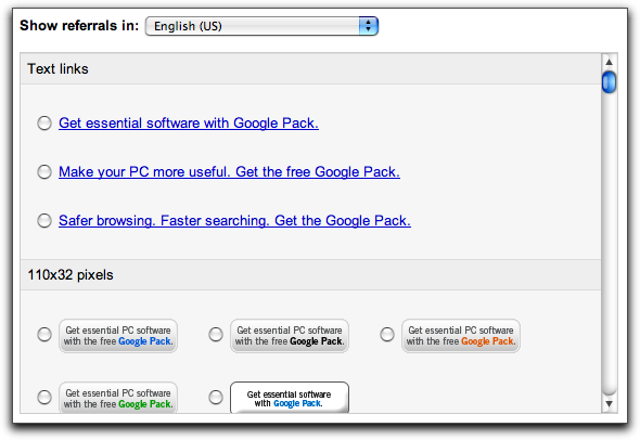 Google AdSense Referrals: Google Pack Links