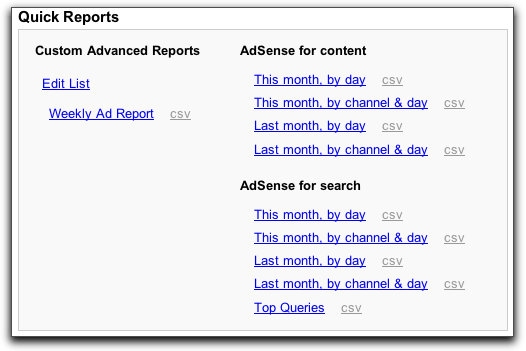 Google AdSense: Quick Reports