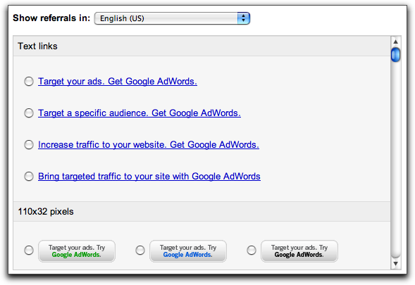 Google AdSense Referrals: AdWords Referral Links