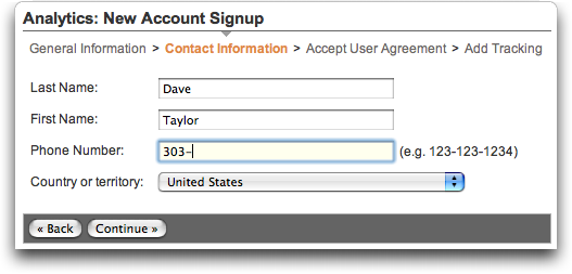 Google Analytics: Signup #2