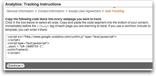 Google Analytics: Signup #3: Code