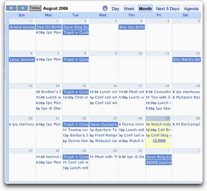 Google August Calendar