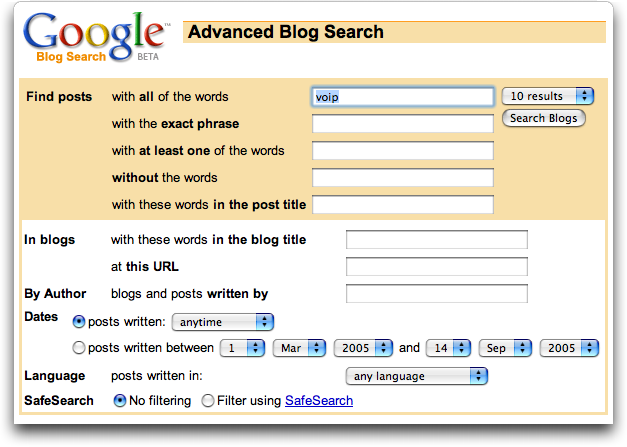 Google Blog Search: Advanced Search