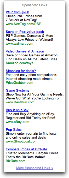 Google ad results from 'Buy Sony PSP Value Pack'