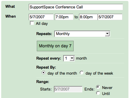 Google Calendar: Event Repeats: Monthly