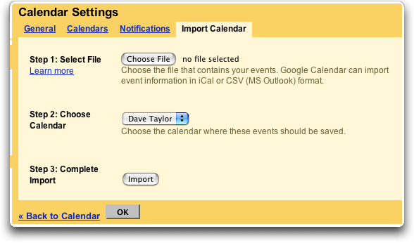 Google Calendar: Import Calendar from Apple iCal