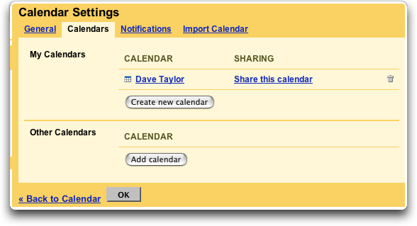 Google Calendar: Settings
