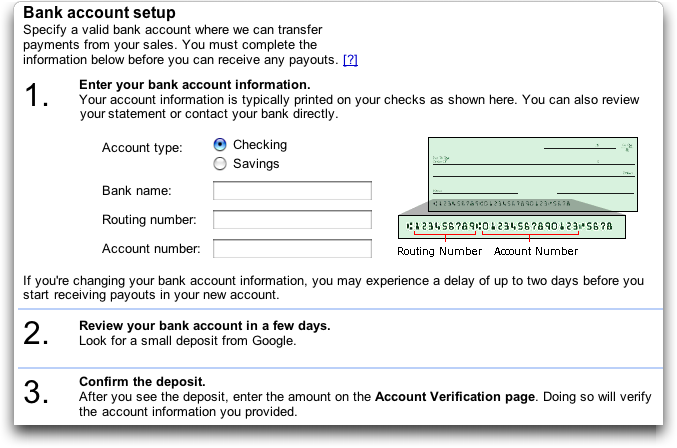 Google Checkout: bank account setup