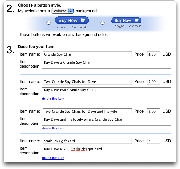 Google Checkout: Creating a Buy Now button