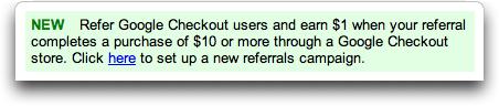 Google Checkout Affiliate Program / Referral Program Advert from AdSense