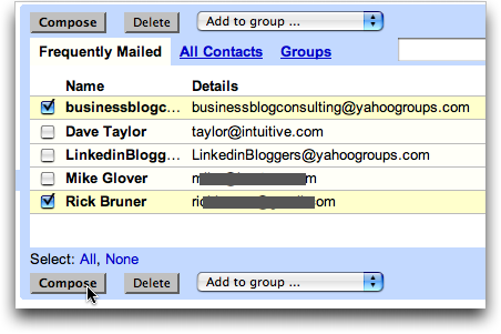 Google GMail: Using your Address Book to Compose a Message