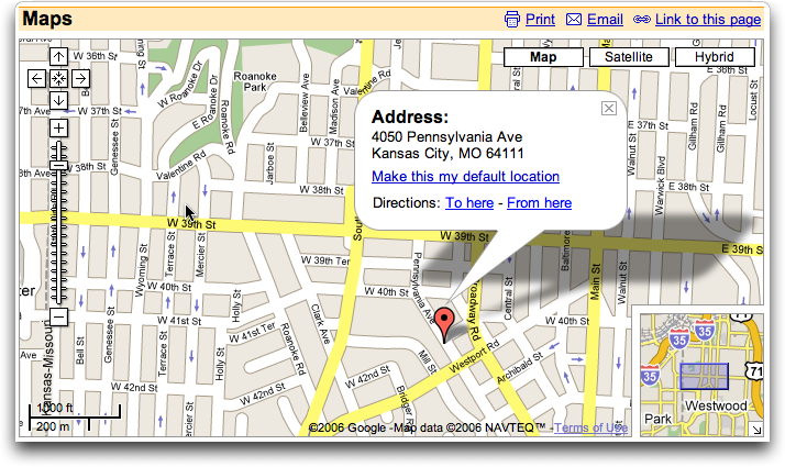 Google Maps: Map of club in Westport, Kansas City