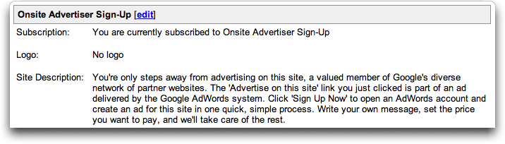 Onsite Advertiser Sign-Up configuration