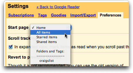 Google Reader: Home View