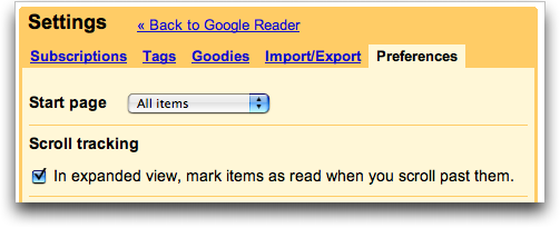 Google Reader: Settings: Preferences