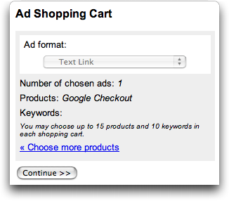 Google Checkout Affiliate Program / Referral Program from AdSense: Ad Choices: Shopping Cart