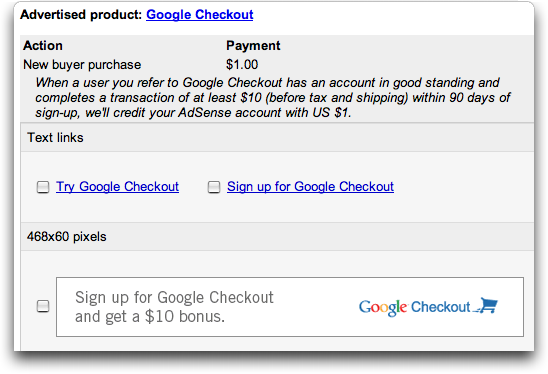 Google Checkout Affiliate Program / Referral Program from AdSense: Ad Choices
