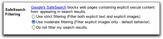 Google Search Box: Preferences: SafeSearch (safe search) Filtering