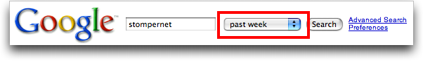 Google: Advanced Search Results: Date Constraint Included