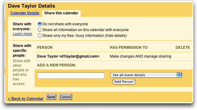 Google Calendar Settings: Share Calendar