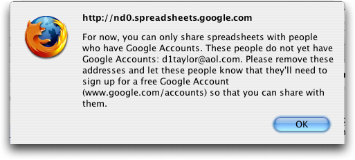 Google Spreadsheets, Google Accounts Only