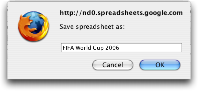 Google Spreadsheets, Save Dialog