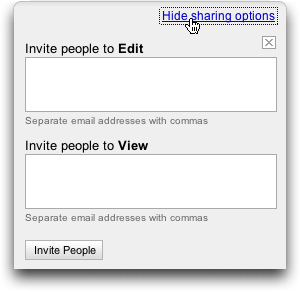 Google Spreadsheets, Share Addresses View