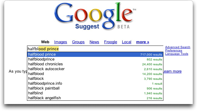 Google Suggest search for (Harry Potter and the) Half Blood Prince