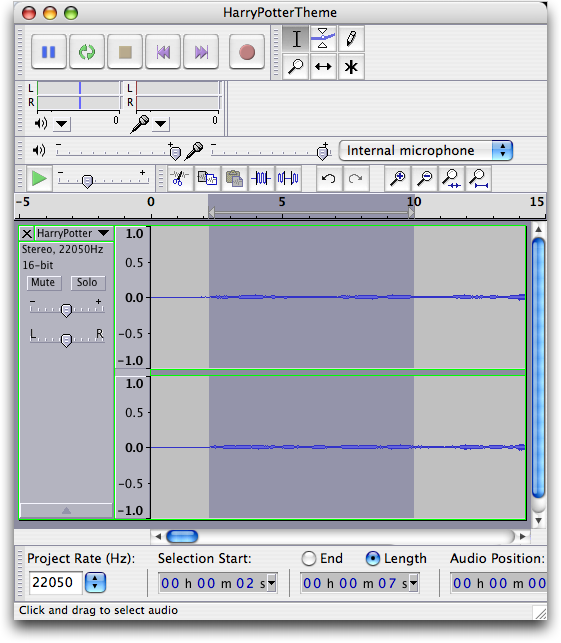 Harry Potter mp3 theme music, shown in Audacity on the Mac