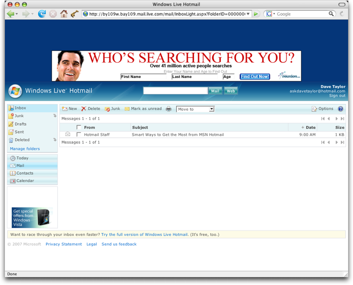 MSN Microsoft Live Hotmail: Classic View