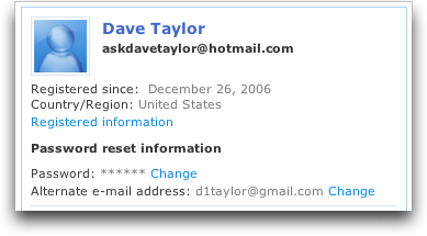 Microsoft MSN Windows Live Hotmail: Account Info