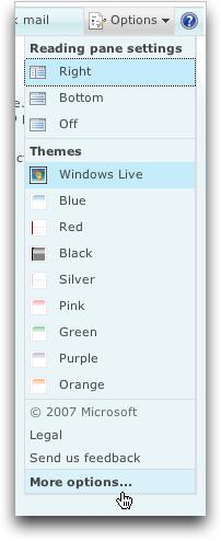 Microsoft MSN Windows Live Hotmail: Options Menu