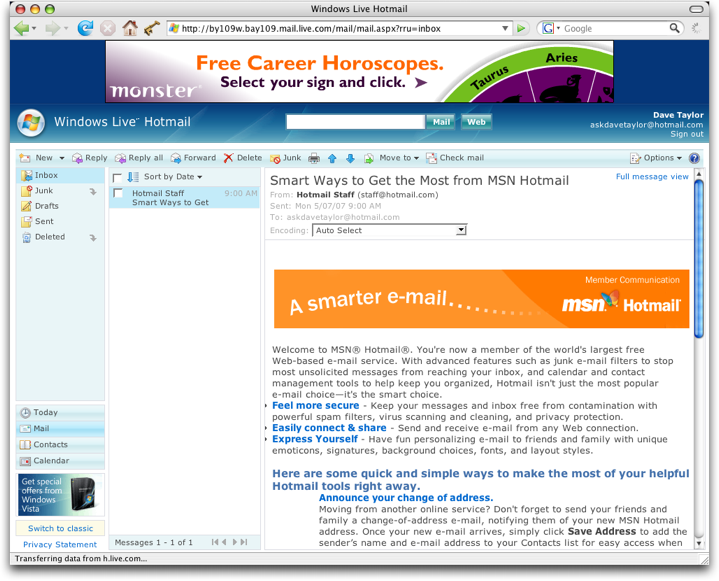 MSN Microsoft Live Hotmail: Hotmail Live View