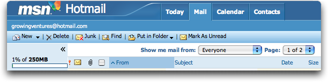 MSN Hotmail, Mail Headers