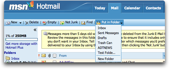 how to create folders in hotmail