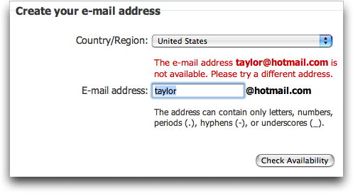 Signing up for a free MSN Live / Hotmail account