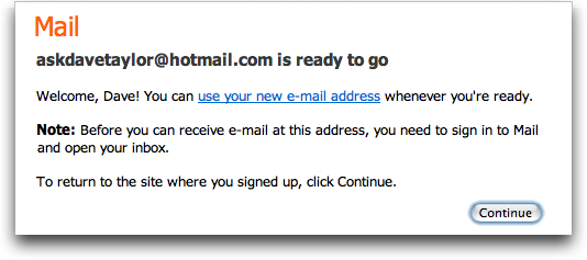 Signed up for a free MSN Live / Hotmail account