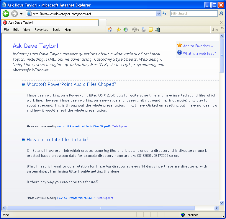 IE7 Displaying an RSS Webfeed